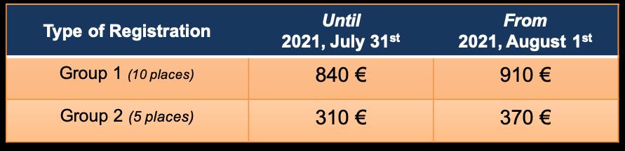 Tableau tarifs anglais 2021